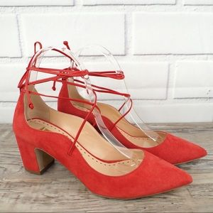 NEW Rupert Sanderson 37 red Poet ankle wrap suede
